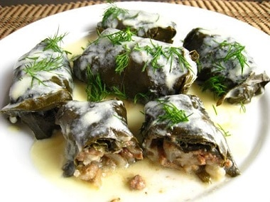 Dolmades:Stuffed Grape Leaves