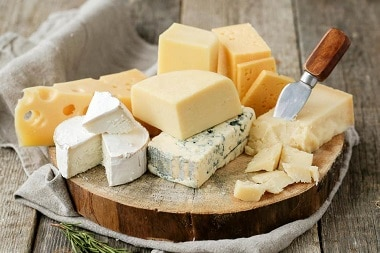 Variety of cheese as an appetizer or mezes